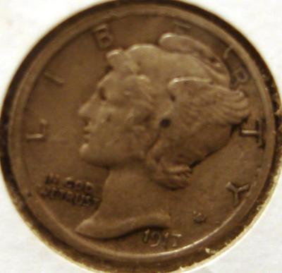 1917 Mercury Dime Obverse