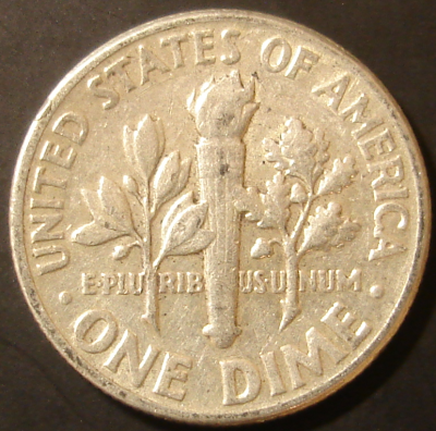 1957 Silver Roosevelt Dime Reverse