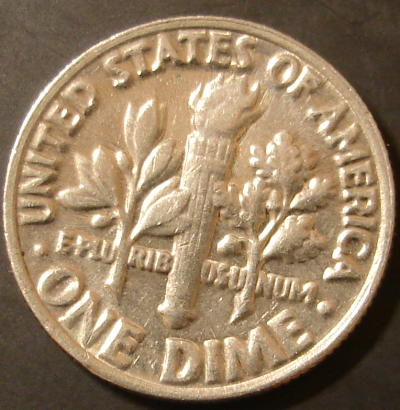 1985 Clad Roosevelt Dime from Circulation Reverse