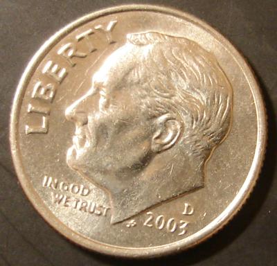 2003 Roosevelt D Dime Obverse