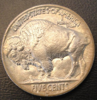 Reverse 1937 Type II Buffalo Nickel