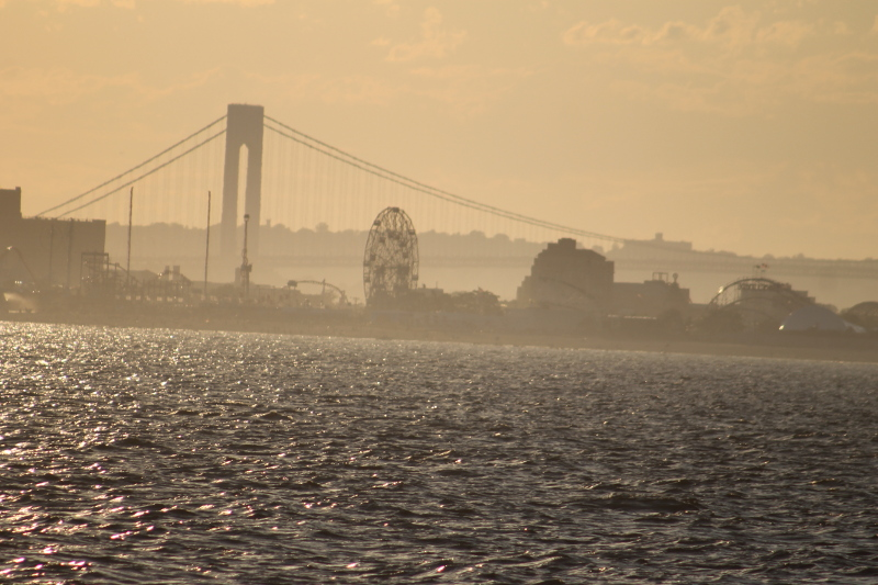 Verazzanno Bridge from the waters off of Brighton Beach and Coney Island