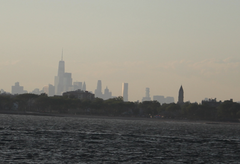 Manhattan Skyline from the waters off of Coney Island